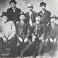 """Tombstone History - Wyatt Earp is front center and Bat Masterson is in the back. Best book on the real historic event; """"The Last Gunfight"""" by Jeff Guinn."""