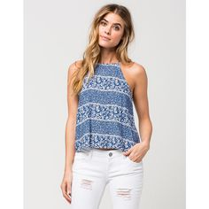Full Tilt Ditsy Floral Womens Tank ($27) ❤ liked on Polyvore featuring tops, light blue, strappy tank top, low back tank, full tilt tops, high neck top and rayon tops