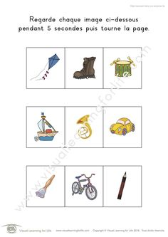 Dans les fiches de travail « Objet manquant dans une séquence » l'élève doit identifier l'objet manquant dans la séquence, de mémoire.