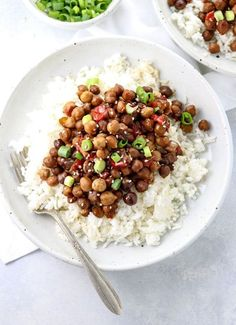 kung pao chickpeas over white rice