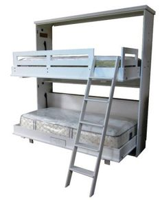 Chalet style Bunk Bed Murphy Bed in White finish, these are perfect for little guests in a guest room!