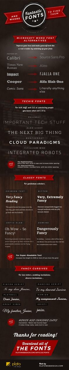 Fantastic Fonts and Where to Find them   #Fonts #Design #infographic