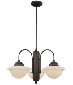 Triple Schoolhouse Chandelier, Bronze. This is for the foyer; I have a matching single light hanging over the kitchen sink in front of the window.