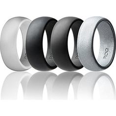 Silicone Wedding Ring For Men By ROQ Affordable High Quality Silicone Rubber Band, 4 Pack - Camo, Metal Look Silver, Black, Grey, Light Grey
