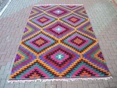 VINTAGE Turkish Kilim Rug Carpet Handwoven Kilim by TurkishKilim, $1689.00