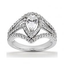 14k White Gold Diamond Accented Engagement Ring Containing 0.74 Carats Of Diamonds In Hi Color And Si1-si2 Clarity