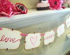 """Valentine Banner """"love SWEET love"""" Decoration"""