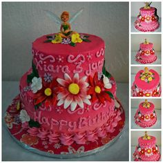 Cute pink ombre tinkerbell birthday cake