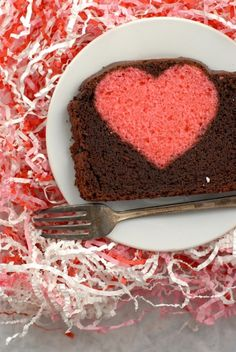 Hidden Heart Valentines Pound Cake, bright, cherry-flavored heart enveloped in luscious chocolate pound cake, easily adaptable for all dietary needs