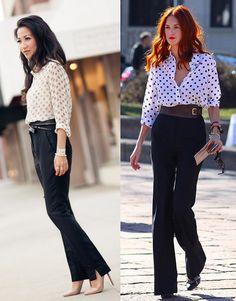 07_Looks de trabalho_looks femininos_Looks para entrevista de emprego_Calça preta_camisa de poa