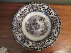 "Antique Flow Mulberry Davenport Ironstone ""Cyprus"" Soup Plate"