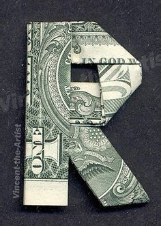 Money Origami Letters Made With Real Dollar Bill Cash Currency Origami Letters, Origami Bow, Origami Star Box, Money Origami, Origami Fish, Origami Dragon, Origami Folding, Origami Stars, Origami Paper