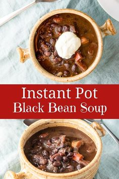 Why spend hours cooking black bean soup on the stovetop when the instant pot can have it ready within an hour? This instant pot black bean soup is robust, easy and delicious and will become your new favorite instant pot soup. Bean Soup Recipes, Beef Recipes, Vegetarian Recipes, Instant Pot, Soup Dish, Black Bean Soup, Cooking Black Beans, Easy Delicious Recipes, Side Recipes