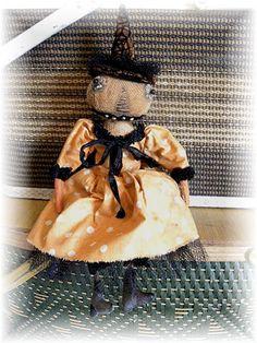 Primitive Pumpkin Head Orange Polka Dot Witch Doll by mustardseed, $35.99