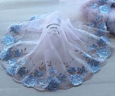 Free shipping 2 Yards Lace Trim rose Embroidered Lavender + blue Tulle Lace7.88 Inches Wide High Quality