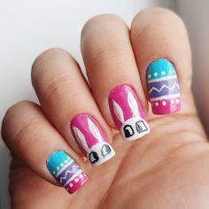 "Domi Králiková (@domi_nailart) na Instagrame: ""Another #easternailart by me do you like it? Leave a comment #nailsoftheday #avon #easter #spring #springnails #bunny #easterbunny #easterpattern #pinknails #colorfulnails #easterdesign #easternaildesign #pinit #follow #nailartist #nailart"