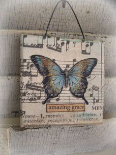 Original  Vintage Collage Altered Mixed Media Butterfly Collage by QueenBe