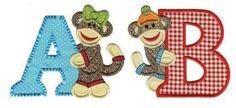 Sock Monkeys Alphabet Applique Designs Coming Soon to Designs by JuJu!