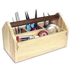 Ikee Design Natural Wood Color Wooden Craft Tool Box With Handle (Eco-Friendly - China - Wood), Brown Tool Box Diy, Wood Tool Box, Wooden Tool Boxes, Wood Tools, Wooden Tool Caddy, Decorative Storage, Wood Storage, Craft Storage, Storage Organization