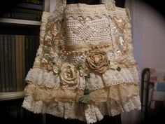 Romantic Cottage Tote Bag, shabby and chic, ruffled lace fabric bag