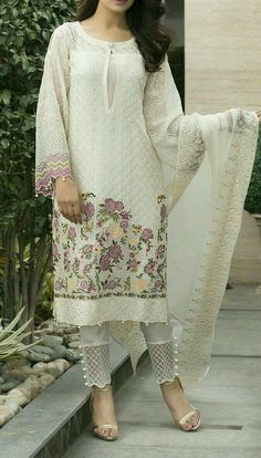 Check out this post - White Chikon Work Kurta with Short Designer Salwar on salwarkameez created by Fashion Pick Of The Day and top similar posts on salwarkameez, trendy products and pictures by celebrities and other users on Roposo. Pakistani Fashion Casual, Pakistani Dresses Casual, Pakistani Dress Design, Indian Fashion, Pakistani Suit With Pants, Salwar Designs, Kurta Designs Women, Kurti Designs Party Wear, Blouse Designs