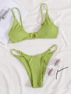Trendy Bikinis, Summer Bikinis, Cute Bikinis, Green Bikini Set, Green Swimsuit, Bikini Swimwear, Thong Bikini, Bikini Outfits, Bikini Set