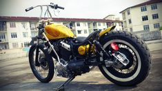 Tho& this Yamaha Virago 535 is not my style, but It& definitely a nice custom. Built by Hungry Ghost Custom Inc , Malaysia. Virago 535, Yamaha Virago, Honda Bobber, Bone Shaker, Custom Choppers, Lifted Trucks, Old Skool, Cars And Motorcycles, Bones