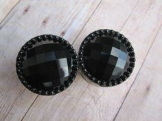 """Pair of Black Faceted Button Plugs - Girly Gauges by WhimsyByKrista on Etsy - 9/16"""", 5/8"""", 3/4"""", 7/8"""", 1"""" Feminine Plugs"""