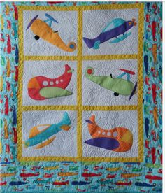sweet little appliqued helicopter baby quilt