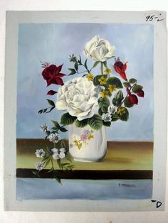 P Ambrosio Oil on Canvas Unstretched Still Life Painting w Centered White Rose | eBay