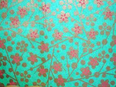 Japanese hand-made paper | Yuzen washi, floral pattern. From the collection of tengds.