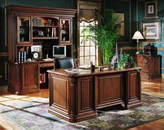 Photo Of Hooker Furniture Villa Florence Wood Top Executive Desk Set In Relaxed Cherry Office Suites