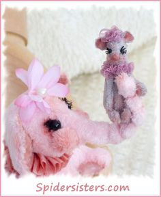 Peanut & Petal  Mini Elephant and micro mini Mouse pal. The set is a Spiders Sisters original design~ for sale now on ebay item #151128220306 Please stop by and see what else we have listed. :)
