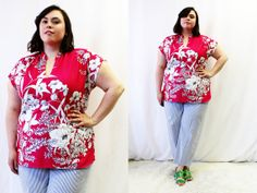 Plus Size - Vintage Hot Pink Floral Mandarin Collar Tunic Blouse by TheCurvyElle, $20.00