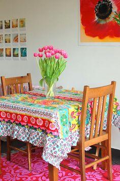 bright tablecloth