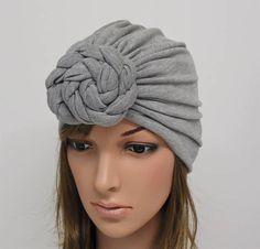 Grey turban hat front knotted turban elegant hat fashion