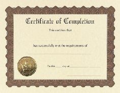 Completion Certificates - 6 count - $3.95 - Completion certificates from Great Papers. Large quantity discount. 60lb text 8.5 x 11 printable certificates of completion.
