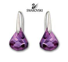 Swarovski Purple Crystal Earrings LUNAR Pierced Earrings Amethyst #1144276