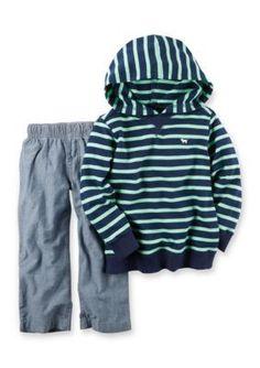 Carters  2-Piece Blue Green Striped Hoodie Set Infant Boys