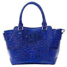 Authentic M Crocodile Skin Womens Hornback Tote Bag W/Strap Handbag (Bright Blue)