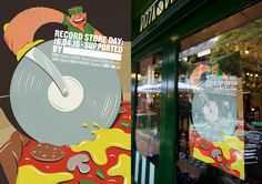 Record Store Day Posters by Senan Lee & Pansy Aung 'Pizza' Illustrated by Toby Leigh #RSD16 #RSDUK #RecordStoreDay #Soho #London #Vinyl #Illustration #GraphicDesign #Design #Graphic #Advertising #Poster #Campaign #Retro #Vintage #Pizza #Italian #Hipster