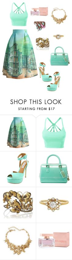 """Nice"" by eshlychenko ❤ liked on Polyvore featuring Chicwish, LE3NO, Steve Madden, Furla, Annoushka, Oscar de la Renta and Dolce&Gabbana"