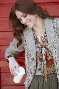Knits, prints, jewels & cords! #layeritup #tjmaxx - I have this sweater & love it.  Have gotten lots of compliments.