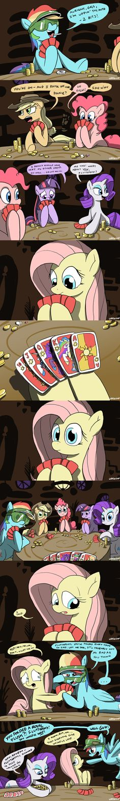 Oh Fluttershy. And there you have Rarity just taking the money. XD. Lol