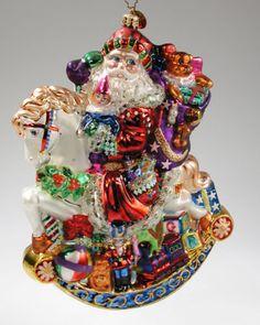 RARE Christopher Radko Ornament Merry Mount Magic Santa Rocking Horse Royal Star   eBay