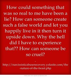 How could something that was so real to me have been a lie? How can someone create such a false world and let you happily live in it then turn it upside down. Why the hell did I have to experience that?? How can someone be so cruel?