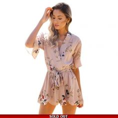 Brown Bohemian Style Playsuit