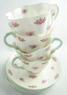 Vintage shabby pink and green