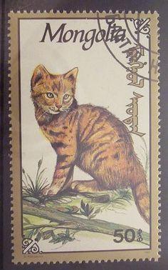 Mongolia - cat postage stamp