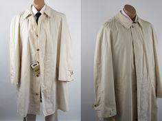 Vintage 1960s Ivory Mans Overcoat - Raincoat NWT Manstyle Zip Lining Sz 46R by alleycatsvintage on Etsy